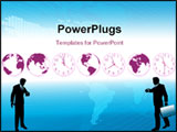PowerPoint Template - usy business people hurry to flights or appointments to do global business. Clocks and globes sugge