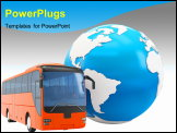 PowerPoint Template - 3d Bus travel around the globe on white background