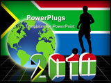 PowerPoint Template - world cup 2010 with 3d date and footballer stood on top of date with south africa flag