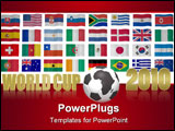 PowerPoint Template - orld cup 2010 South Africa theme with the national flags of participating countries on the backgrou