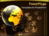 PowerPoint Template - 3d rendering of world currency symbols arranged around a globe