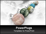 PowerPoint Template - Several figures pushing balls marked with world currencies push forward in a race for growth