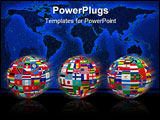 PowerPoint Template - Three spheres with the national flags of all countries in the world.