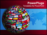 PowerPoint Template - earth surface is tiled over with flags of all nations