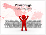 PowerPoint Template - one 3d human stand out of the crowd