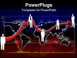 PowerPoint Template - 2d illustration of a detailed chart super-imposed over a glowing world map