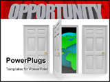 PowerPoint Template - One of three doors opens to reveal a world of new opportunity