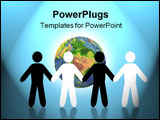 PowerPoint Template - peace. The form of people of a different ethnic origin with a planet on a background