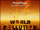 PowerPoint Template - Background, illustration world pollution with globe, environmental concept