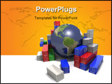 PowerPoint Template - World trade concept. Globe surrounded by shipping containers.