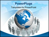 PowerPoint Template - Group of people standing round globe. 3D image.
