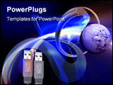 PowerPoint Template - The lightning connecting shapes usb