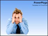 PowerPoint Template - Man worried and stressed.