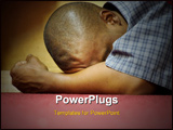 PowerPoint Template - ntensity - Heart of Worship and Prayer. A black man is HERE in intense prayer praise stress or cont