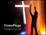 PowerPoint Template - A worshipper of God silhouetted against a fountain with black space left for text.