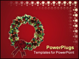 PowerPoint Template - Image and illustration composition of 3D Decorated Christmas Wreath