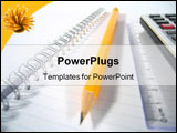 PowerPoint Template - A writing pad with a ruler, a pencil and a calculator