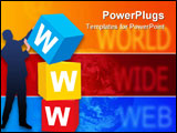 PowerPoint Template - Internet concept: the man and boxes with abbreviation of a World Wide Web