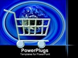 PowerPoint Template - Symbol of shopping cart with the world