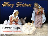 PowerPoint Template - Image and illustration composition Christmas Nativity scene for card or background with gold text