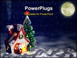 PowerPoint Template - Christmas night. A night landscape with a toy small house and a fur-tree.