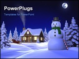 PowerPoint Template - A Christmas themed snow scene showing Snowman Cabin and snow sleigh at night