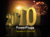 PowerPoint Template - 2010 new year. An three- dimensional composition