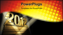 PowerPoint Template - Number 2012 on a golden pedestal at a black background