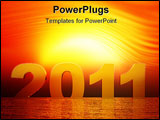 PowerPoint Template - Year 2011 on Sunset over the sear