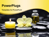 PowerPoint Template - Yellow candle with bottle of essential oil and orchid on pebble