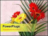 PowerPoint Template - Gerbera flowers with palm leaves - bright red and yellow bouquet.