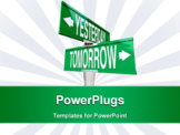 PowerPoint Template - A green two-way street sign pointing to Right Way and Wrong Way