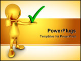 PowerPoint Template - Three-dimensional render of a cute little golden human figure being positive
