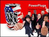 PowerPoint Template - motivational and patriotic aluminum can saying yes we can