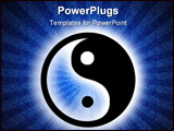 PowerPoint Template - yin yang symbol of harmony and meditation on grunge blue spiral background
