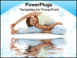 PowerPoint Template - lovely girl practicing ashtanga yoga on white sand