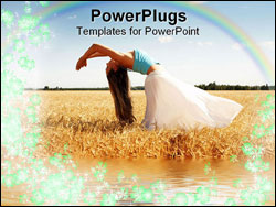 PowerPoint Template - stretching woman in the meadow with rainbow water and flowers