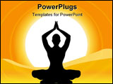 PowerPoint Template - Silhouette Human Performing Yoga On Natural Background