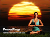 PowerPoint Template - A sportive beautiful woman training yoga on the beach at dawn.