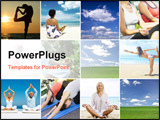 PowerPoint Template - Yoga theme collage composed of different images