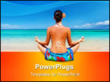 PowerPoint Template - woman meditating in sarong on tropical beach