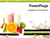 PowerPoint Template - Three glasses with yogurts surrounded by fresh fruits. Healthy eating.
