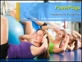 PowerPoint Template - Fitness - Young women doing sports training or workout with gymnastic ball in a gym