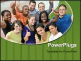 PowerPoint Template - A large group of multi ethnic college students together.