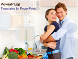 PowerPoint Template - Happy young couple holds each other in the kitchen.