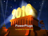 PowerPoint Template - New Year celebration concept: shiny golden highlighted 2010 on pedestal