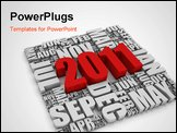 PowerPoint Template - 3D text representing the year 2011 and the twelve months. Part of a series of calendar concepts.