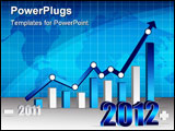 PowerPoint Template - 2011 2012 Business graph with world background. Vector File also available