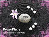 PowerPoint Template - Zen garden in black sand with stone of energy